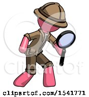 Pink Explorer Ranger Man Inspecting With Large Magnifying Glass Right