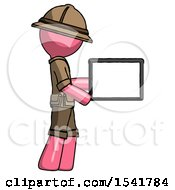 Pink Explorer Ranger Man Show Tablet Device Computer To Viewer Blank Area