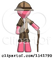 Pink Explorer Ranger Man Standing With Hiking Stick
