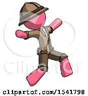 Pink Explorer Ranger Man Running Away In Hysterical Panic Direction Right