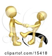 Unsuspecting Gold Man Shaking Hands On A Deal With Another Man As A Saw Cuts A Circle Out From Under Him And He Slips