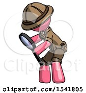 Pink Explorer Ranger Man Inspecting With Large Magnifying Glass Left