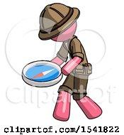Pink Explorer Ranger Man Walking With Large Compass
