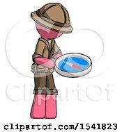 Pink Explorer Ranger Man Looking At Large Compass Facing Right