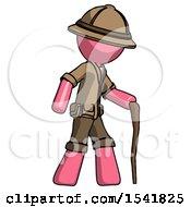 Pink Explorer Ranger Man Walking With Hiking Stick