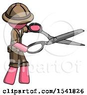 Pink Explorer Ranger Man Holding Giant Scissors Cutting Out Something