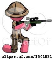 Pink Explorer Ranger Man Kneeling Shooting Sniper Rifle