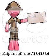 Pink Explorer Ranger Man Holding Large Envelope