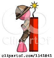 Pink Explorer Ranger Man Leaning Against Dynimate Large Stick Ready To Blow