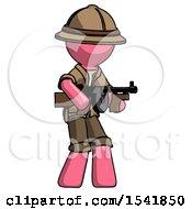 Pink Explorer Ranger Man Tommy Gun Gangster Shooting Pose