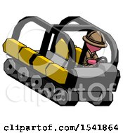 Pink Explorer Ranger Man Driving Amphibious Tracked Vehicle Top Angle View