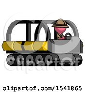 Pink Explorer Ranger Man Driving Amphibious Tracked Vehicle Side Angle View