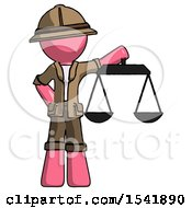 Pink Explorer Ranger Man Holding Scales Of Justice