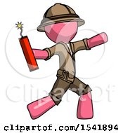 Pink Explorer Ranger Man Throwing Dynamite