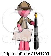 Pink Explorer Ranger Man Holding Large Envelope And Calligraphy Pen