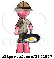 Pink Explorer Ranger Man Frying Egg In Pan Or Wok