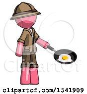 Pink Explorer Ranger Man Frying Egg In Pan Or Wok Facing Right