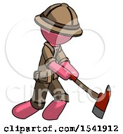 Pink Explorer Ranger Man Striking With A Red Firefighters Ax