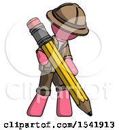 Pink Explorer Ranger Man Writing With Large Pencil