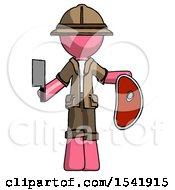 Pink Explorer Ranger Man Holding Large Steak With Butcher Knife