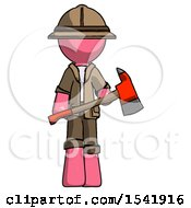 Pink Explorer Ranger Man Holding Red Fire Fighters Ax