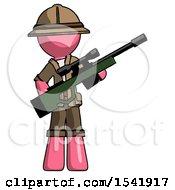 Pink Explorer Ranger Man Holding Sniper Rifle Gun