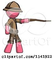 Pink Explorer Ranger Man Pointing With Hiking Stick
