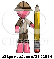 Pink Explorer Ranger Man With Large Pencil Standing Ready To Write