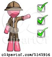 Pink Explorer Ranger Man Standing By List Of Checkmarks