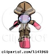 Pink Explorer Ranger Man Looking Down Through Magnifying Glass