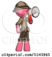 Pink Explorer Ranger Man Shouting Into Megaphone Bullhorn Facing Right