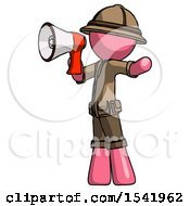 Pink Explorer Ranger Man Shouting Into Megaphone Bullhorn Facing Left