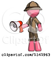 Pink Explorer Ranger Man Holding Megaphone Bullhorn Facing Right