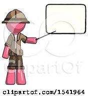 Pink Explorer Ranger Man Giving Presentation In Front Of Dry Erase Board