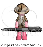 Pink Explorer Ranger Man Weightlifting A Giant Pen