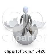 Businessman Carrying A Briefcase And Coming Out Of An Eggshell Clipart Illustration Image by 3poD