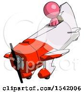 Pink Design Mascot Man In Geebee Stunt Plane Descending View
