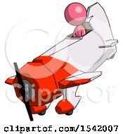 Pink Design Mascot Woman In Geebee Stunt Plane Descending View
