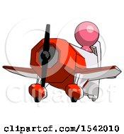 Pink Design Mascot Man Flying In Geebee Stunt Plane Viewed From Below