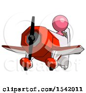 Pink Design Mascot Woman Flying In Geebee Stunt Plane Viewed From Below