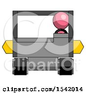 Pink Design Mascot Man Driving Amphibious Tracked Vehicle Front View