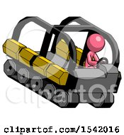 Pink Design Mascot Man Driving Amphibious Tracked Vehicle Top Angle View
