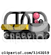 Pink Design Mascot Woman Driving Amphibious Tracked Vehicle Side Angle View