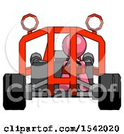 Pink Design Mascot Man Riding Sports Buggy Front View