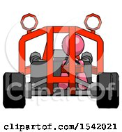 Pink Design Mascot Woman Riding Sports Buggy Front View