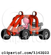 Pink Design Mascot Man Riding Sports Buggy Side Angle View