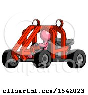 Pink Design Mascot Woman Riding Sports Buggy Side Angle View