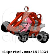 Pink Design Mascot Man Riding Sports Buggy Side Top Angle View