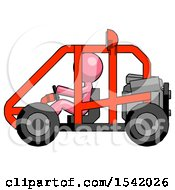 Pink Design Mascot Man Riding Sports Buggy Side View