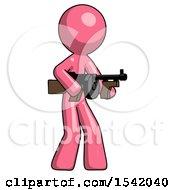 Pink Design Mascot Man Tommy Gun Gangster Shooting Pose